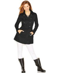 Guess Double-Breasted Belted Trench Coat - Lyst