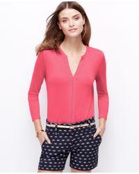 Ann Taylor Split Neck 3/4 Sleeve Top pink - Lyst