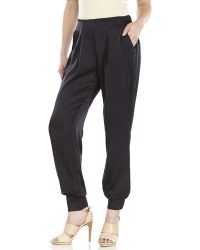 Catherine Malandrino Black Monica Silk Jogger Pants - Lyst