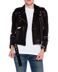 R13 Cropped Classic Leather Moto Jacket - Lyst