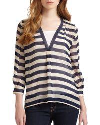 Joie Striped Semi-sheer Silk Blouse - Lyst