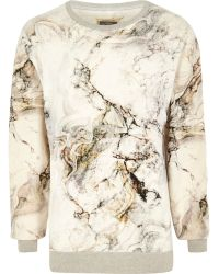 River Island White Holloway Road Marble Print Sweatshirt - Lyst