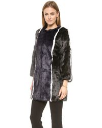 Jocelyn Stripe Fur Coat  Ironnavyblackwhite - Lyst
