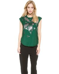 By Malene Birger - Batiluka Embellished Top - Peacock Green - Lyst