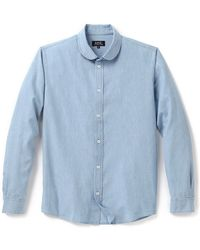 A.P.C. Round Collar Chambray Shirt - Lyst