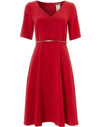 Max Mara Studio 3/4 Sleeve Belted Shift Dress - Lyst
