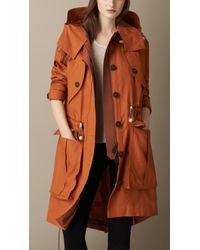 Burberry Linen Parka With Bellows Pockets brown - Lyst