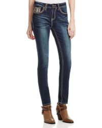 Grace In La - Rainfall Relaxed Skinny Jeans In Dark Blue - Compare At $84 - Lyst