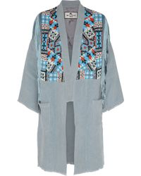 Etro Beaded Fringed Suede And Linen Jacket - Lyst