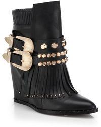 Ivy Kirzhner Santiago Studded Fringed Leather Booties black - Lyst