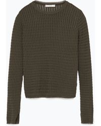 Zara Short Cable Knit Sweater - Lyst