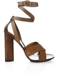 Gucci Leather And Suede Sandals - Lyst
