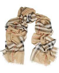 Burberry Checked Wool and Silk-blend Scarf - Lyst