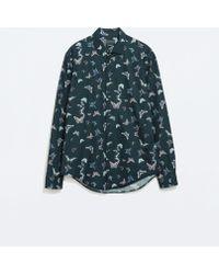 Zara Printed Poplin Shirt - Lyst