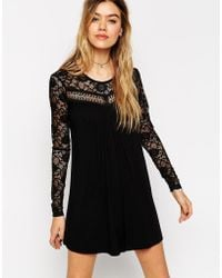 Asos Swing Playsuit With Lace And Tie Back - Lyst