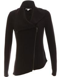 Helmut Lang Wide Collar Zip Front Sweater - Lyst