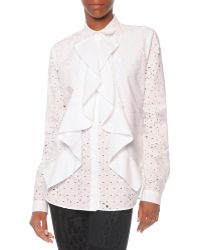 Just Cavalli Laser Cutout Floral Top - Lyst