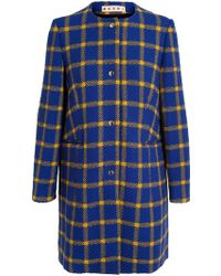 Marni Checked Collarless Coat - Lyst
