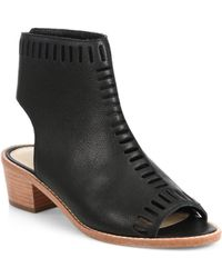 Loeffler Randall Mercy Laser-Cut Leather Open-Toe Ankle Boots - Lyst