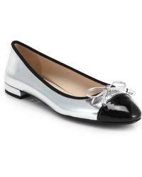 Prada Metallic Leather Cap-Toe Ballet Flats - Lyst