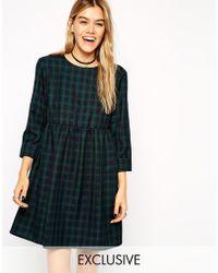 Asos Reclaimed Vintage Dark Tartan Smock Dress - Lyst