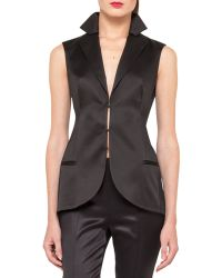 Akris Sleeveless Stretch Silk Satin Gilet Black - Lyst