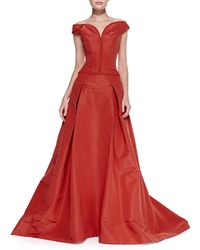 Carolina Herrera Offtheshoulder Faille Ball Gown - Lyst