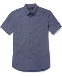 Alexander McQueen Printed Cotton-poplin Short-sleeve Shirt - Lyst