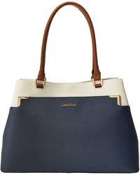 Calvin Klein Blue Saffiano Tote - Lyst
