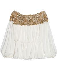 Marchesa Embellished Silk-Chiffon Top - Lyst