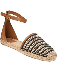 Tory Burch Mosaic Straw Flat Espadrille Natural Leather - Lyst