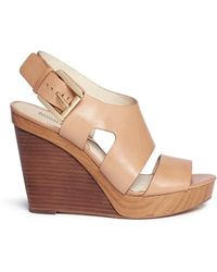 MICHAEL Michael Kors 'Carla' Leather Platform Wedge Sandals - Lyst