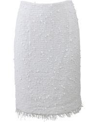 Oscar de la Renta Fringe Tweed Pencil Skirt white - Lyst