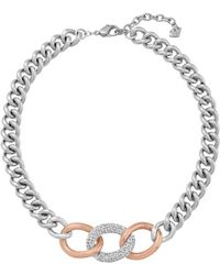 Swarovski Bound Rose Gold Tone And Silver Tone Curb Chain Necklace - Lyst