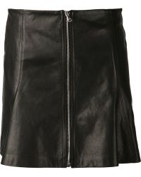 Veronica Beard Zip Front Leather Skirt - Lyst