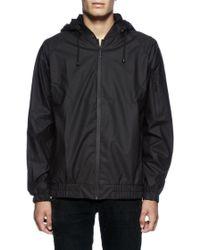 Rains Waterproof Bomber Jacket With Black Hood - Lyst