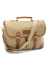 Brooks Brothers Canvas Leather Briefcase - Lyst