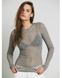Free People Open Back Lace Layering Top - Lyst