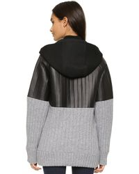 Vera Wang Collection - Leather Panel Rib Jacket - Charcoal/black - Lyst