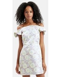 Topshop Floral Frill Off The Shoulder Dress yellow - Lyst