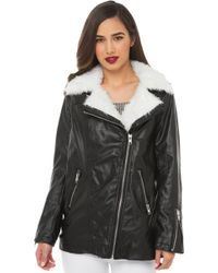 Akira Black Label Biker Girl Faux Leather Oversized Jacket - Lyst