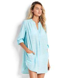 Seafolly - Boyfriend Beach Shirt Turquoise - Lyst