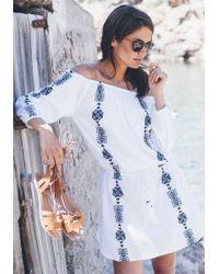 Pampelone - Bardot Dress Navy Embroidery - Lyst