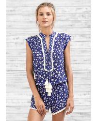 Poupette - Short Donna Jumpsuit Blue Tassel - Lyst