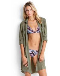 Seafolly - Crinkle Twill Beach Shirt Khaki - Lyst
