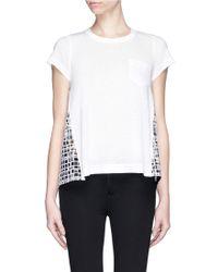 Sacai Eyelet Check Back Cotton T-Shirt - Lyst