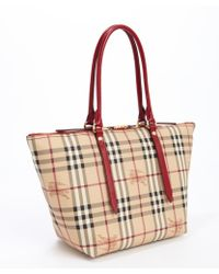 Burberry Military Red and Beige Small Haymarket Check Tote Bag - Lyst