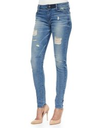 RTA Denim Icon Distressed Skinny Jeans blue - Lyst