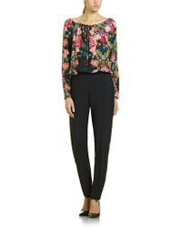 Patrizia Pepe Long Jumpsuit in Mix Fabric with Tunic in Floral Print Silk and Viscose Cady Pants - Lyst