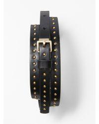 Ann Taylor Skinny Leather Studded Belt - Lyst